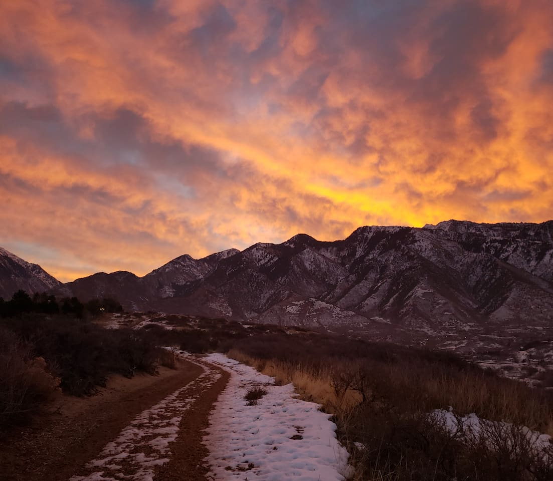 Sunrise from right outside our backyard on the nature trail that provides more then 7 miles of scenic trails.