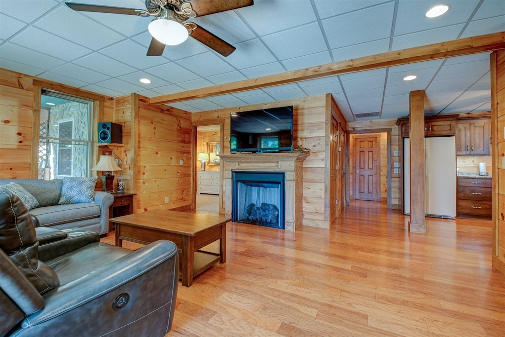 Lower level family room with gas log fireplace and surround sound