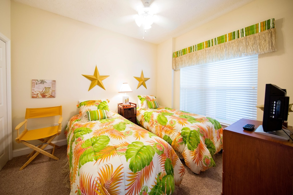 3rd bedroom has two twin beds and a large closet.