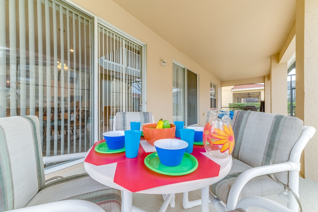 Enjoy family time under the covered lanai