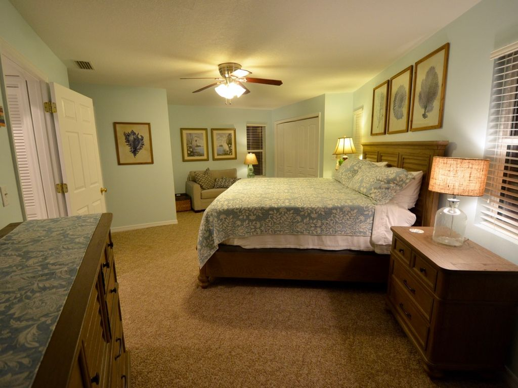 Brand new furniture highlight the master bedroom.