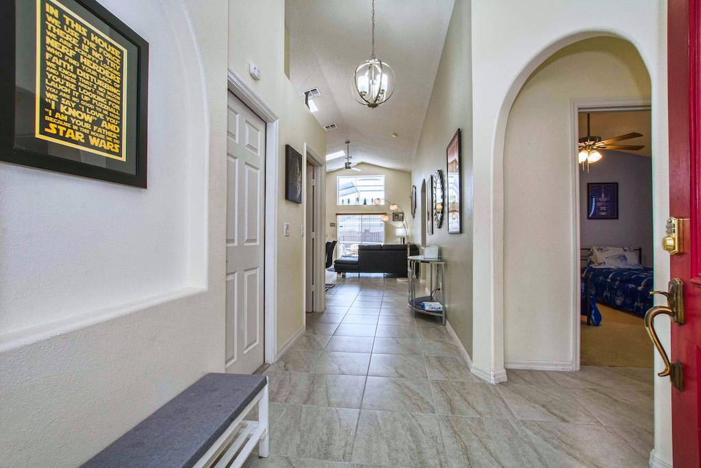 The entry hall with our house creed on the left.