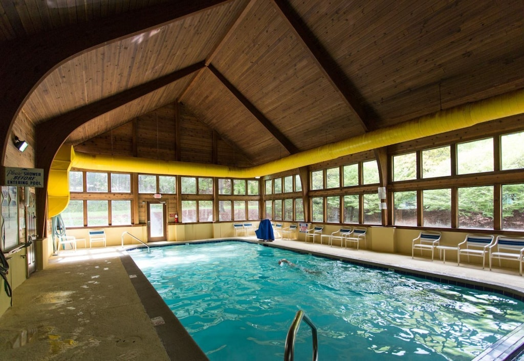 Indoor and outdoor pools at the resort