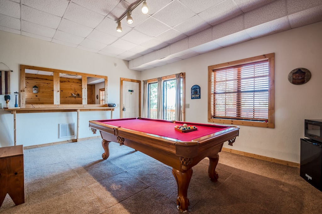 Full Size Pool Table in basement