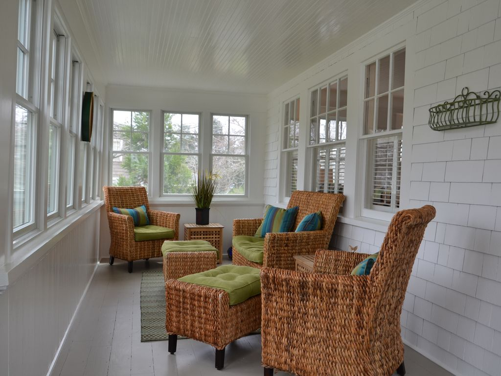 Sunny, roomy and breezy front sun porch for your enjoyment.