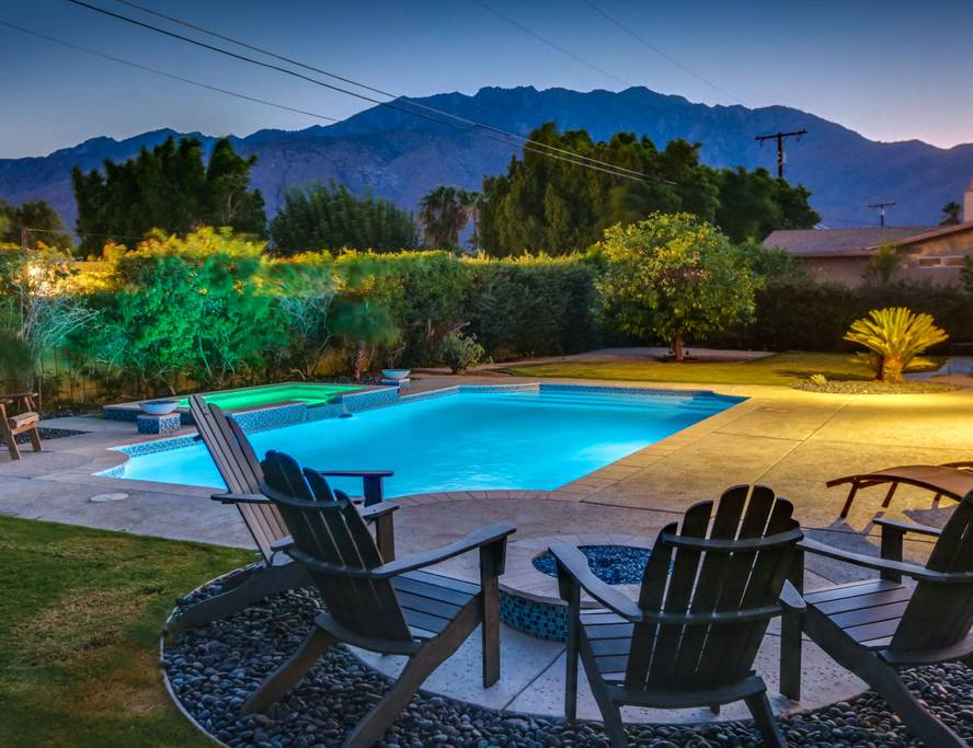 Enjoy the glowing sunset over the San Jacinto mountains from the comfort of your backyard.