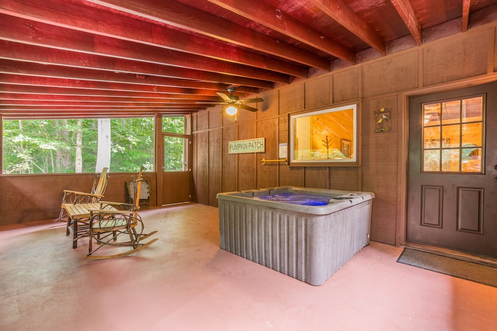 Hot Tub on Screened In Back Porch