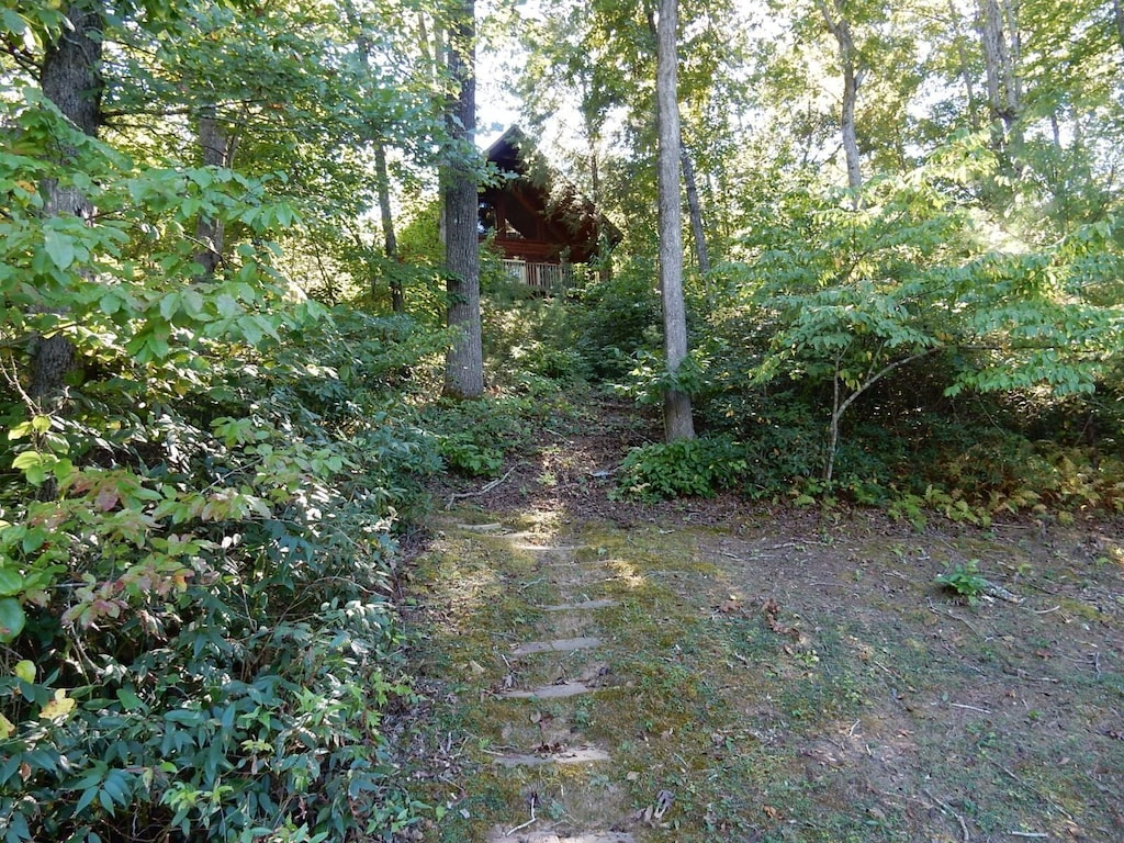 As you are walking up the stone path, this is the view of the home.