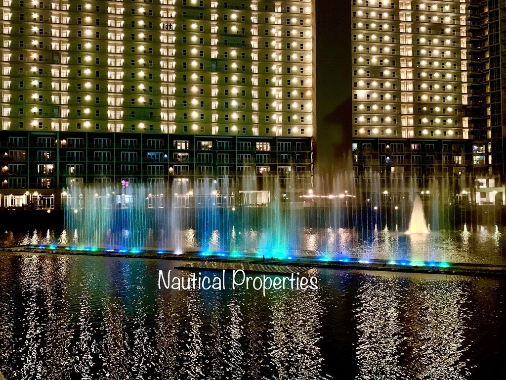 Nightly water fountain light show.