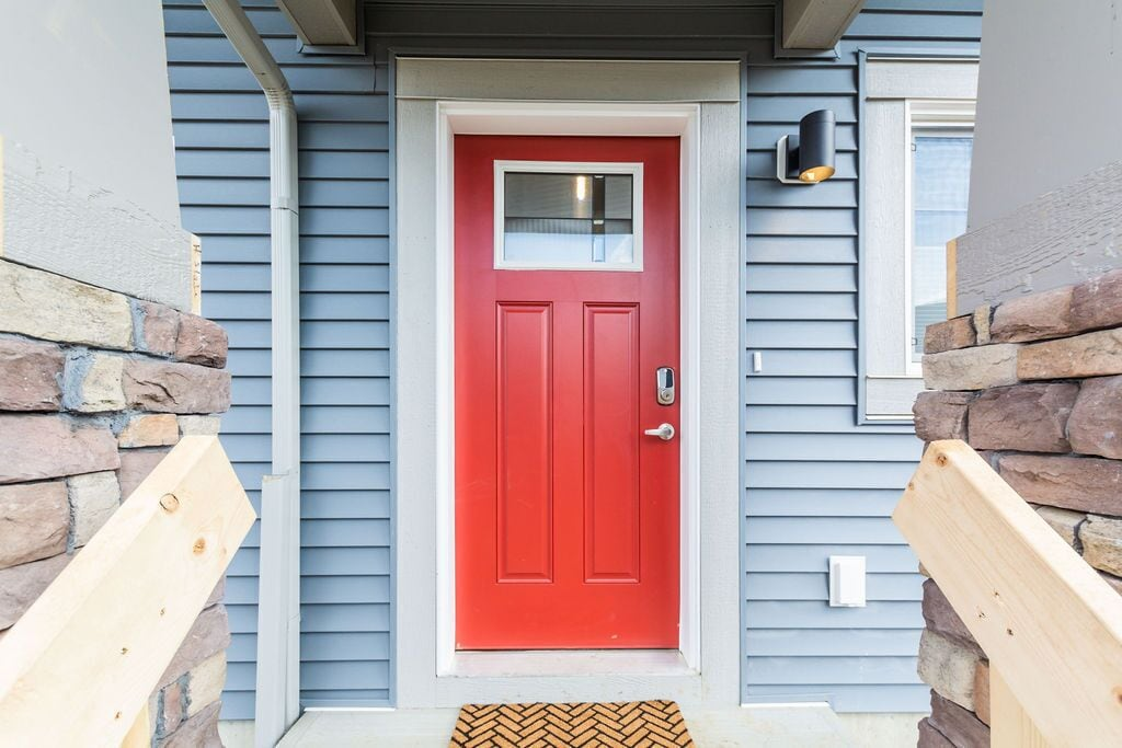 Front entrance is equipped with a smart lock