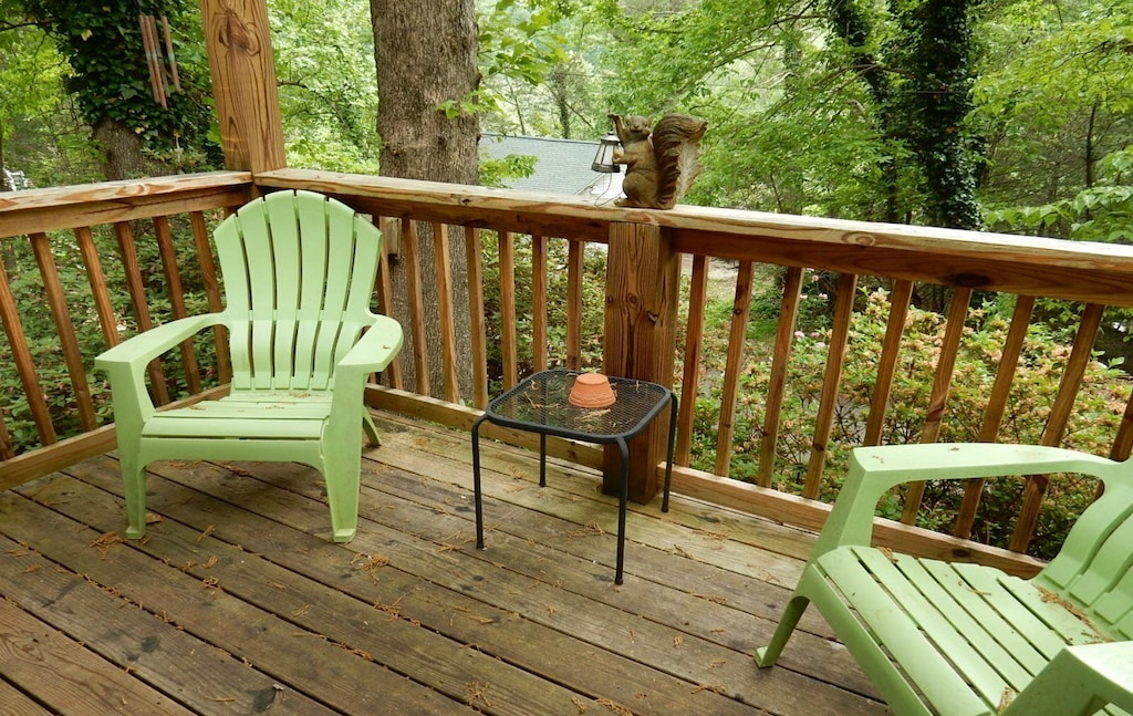 When sitting on the deck, you can hear the rushing sounds of the Rocky Broad River.