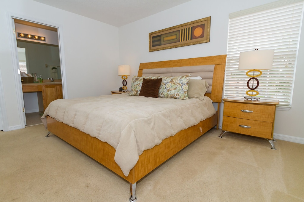 Upstairs King master bedroom with attached bathroom