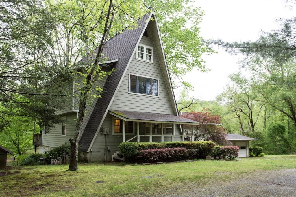 The home sits back off the road on 2 acres.