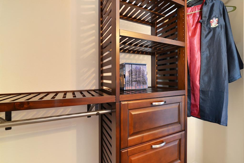 Closet organizers are more efficient than a dresser.