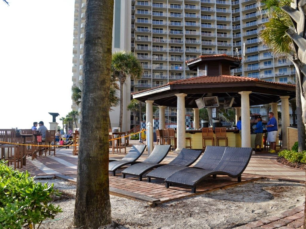 One of two tiki bars in pool area