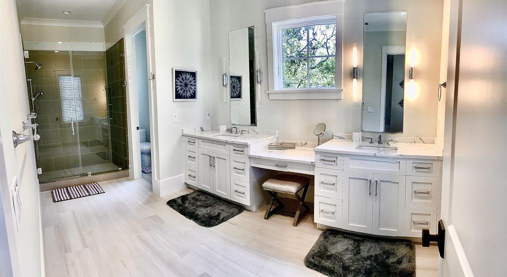 Large double vanity bathroom in junior master suite