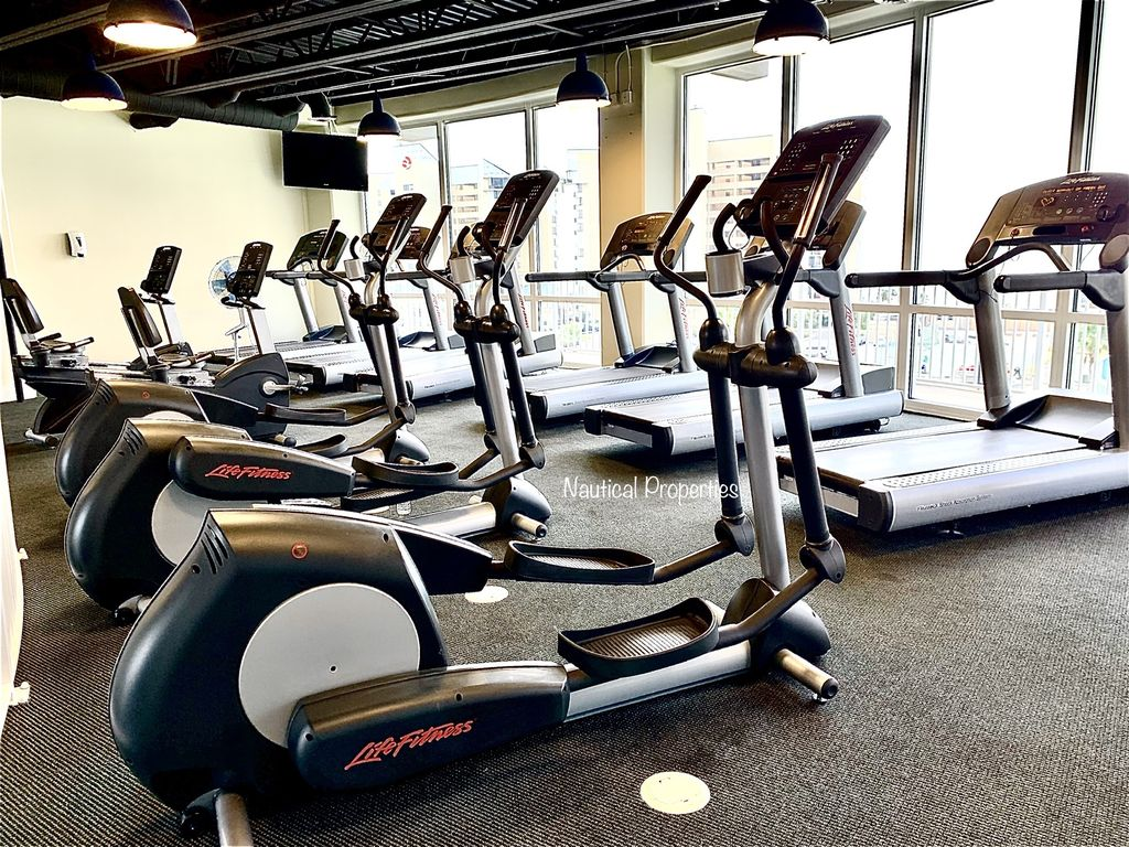 The cardio level of the gym offers a great view of the gulf.
