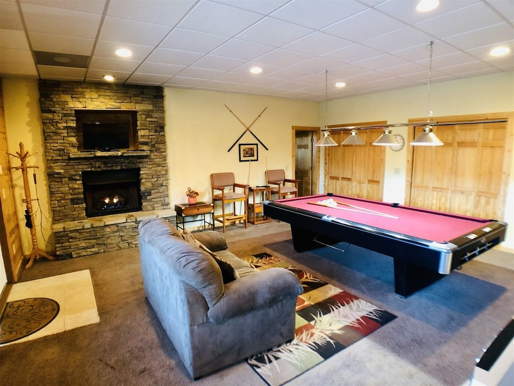 Gameroom with Slate Pool Table and Fireplace