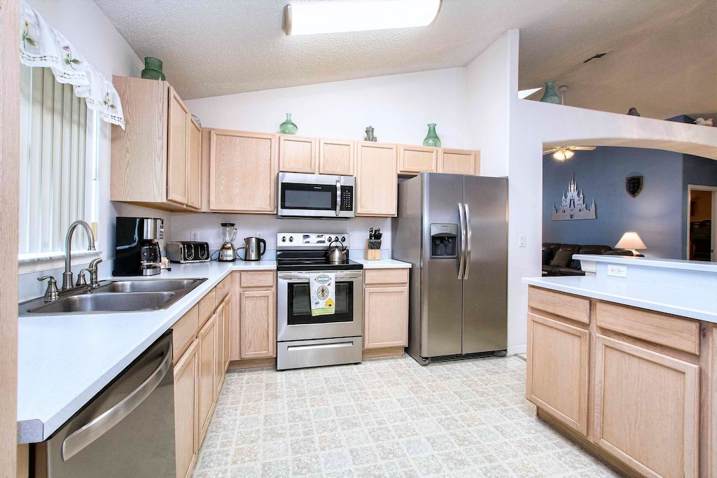 All stainless steel appliances.