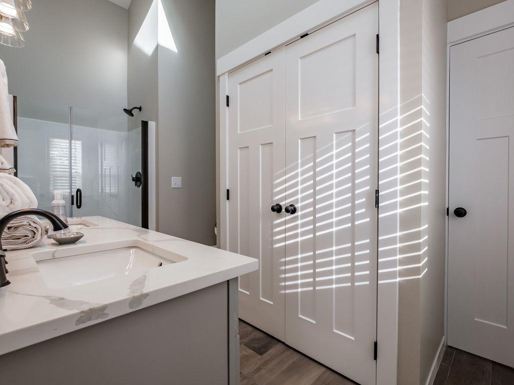 Enjoy the spa-like atmosphere in this bathroom.