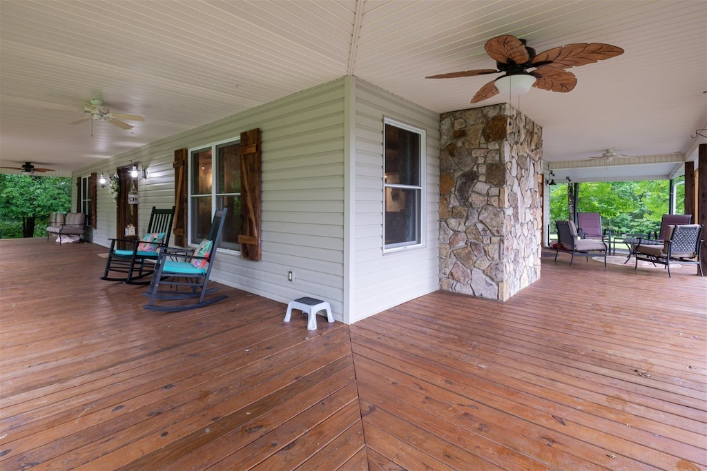 Generous covered porch space