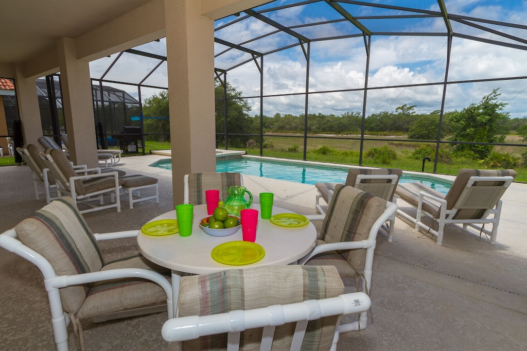 Private pool/Spa with covered lanai for you to enjoy and relax. No rear neighbor