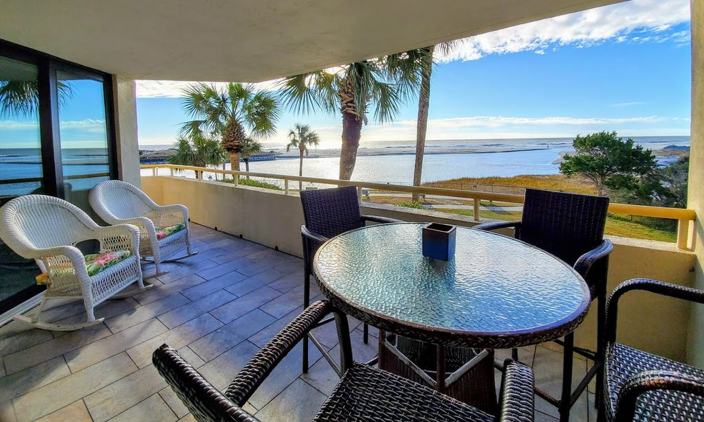 High Top Table/Chairs,Comfortable Rockers on Our 350 sq. ft. Ocean Front Balcony