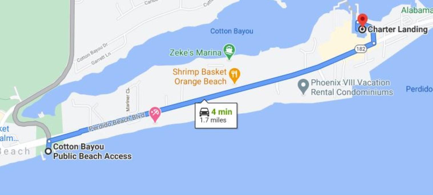 Map to Cotton Bayou Public Beach Access