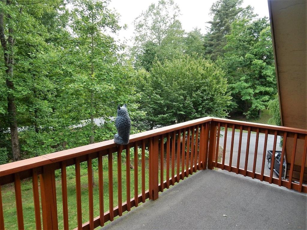 Looking over balcony