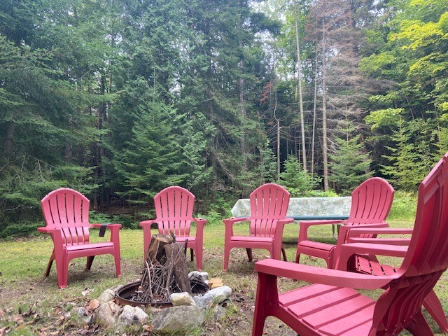 Firepit with adirondack chairs