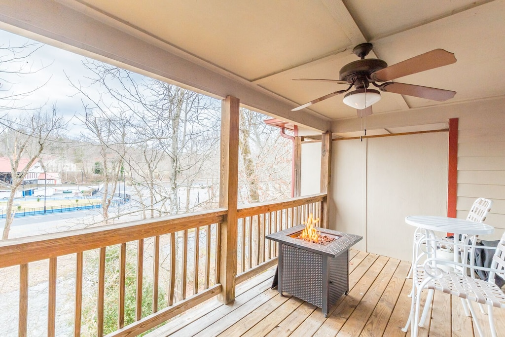 Private deck off master bedroom with gas fire pit