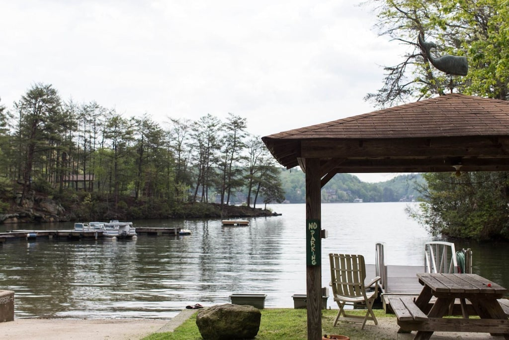 Imagine rowing the canoe on this serene lake.