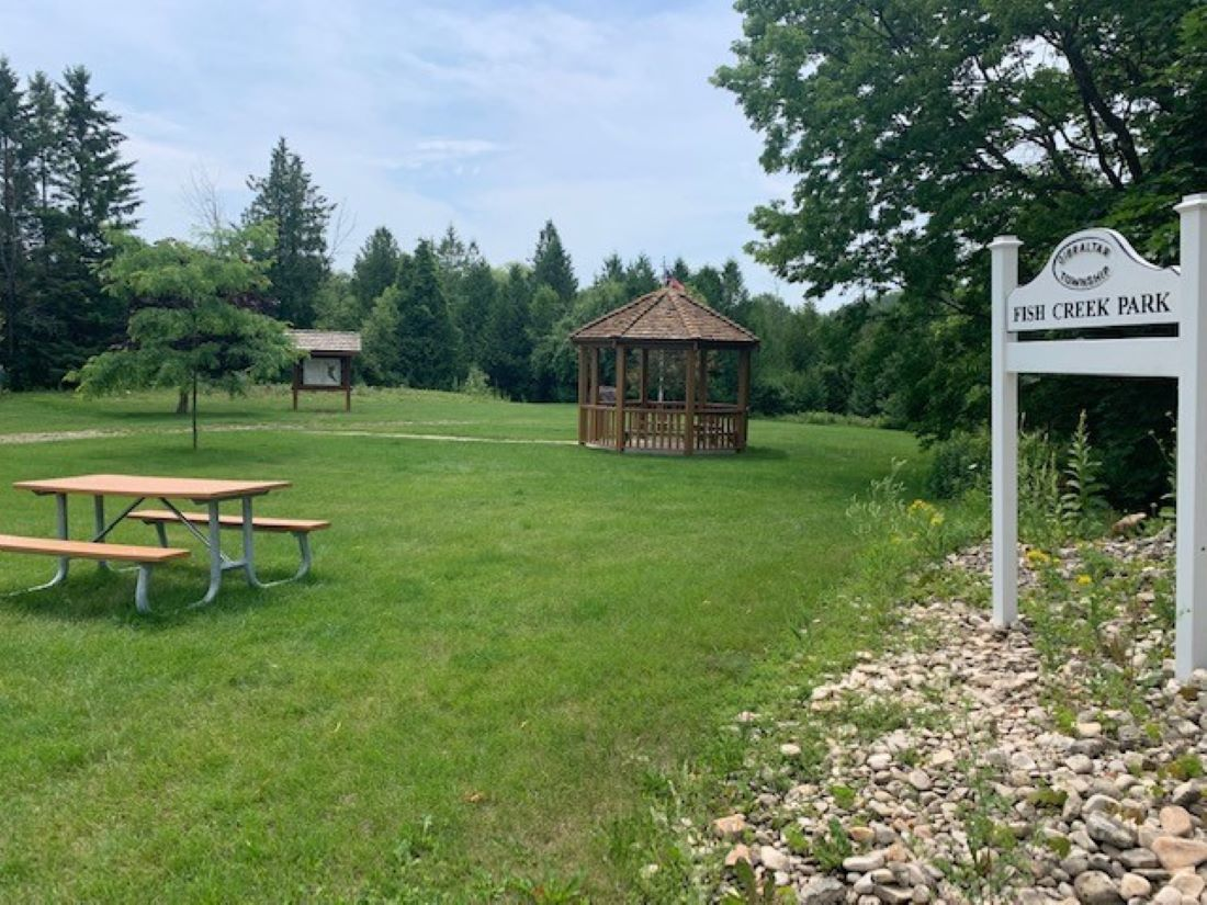 Fish Creek Park is literally adajcent to the cottage with walking trails, gazebo, river to explore.