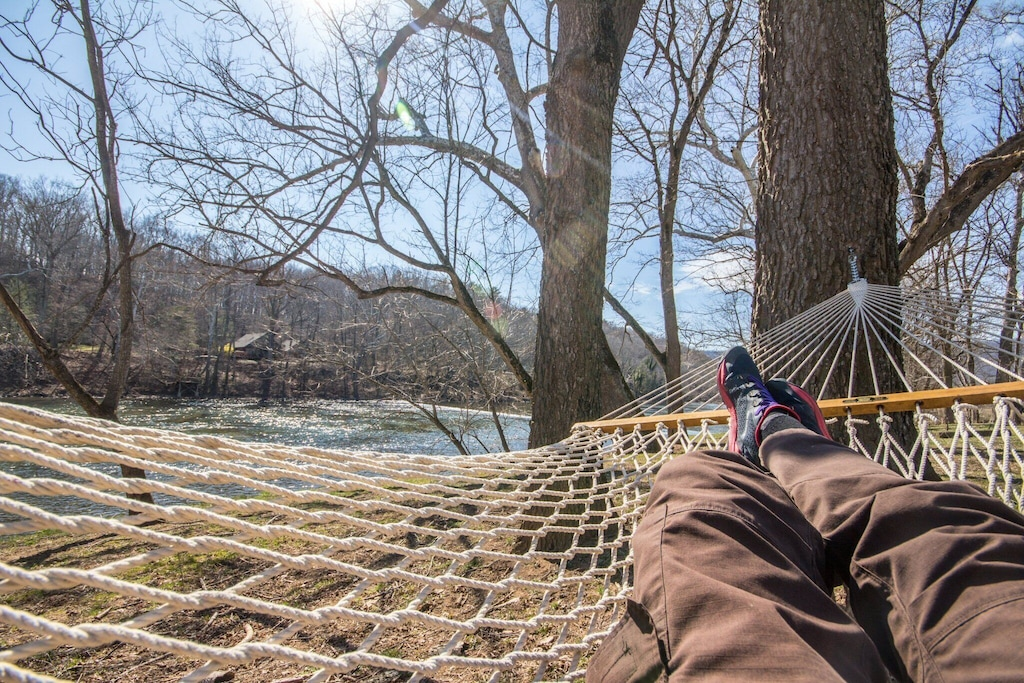 Hammock for napping just a few feet from the river - listen to the rapids!