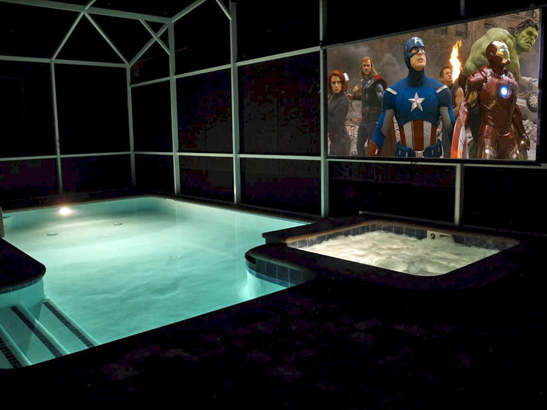 "Poolside Movie Theater-125"" Screen-Dynamic Sound System"