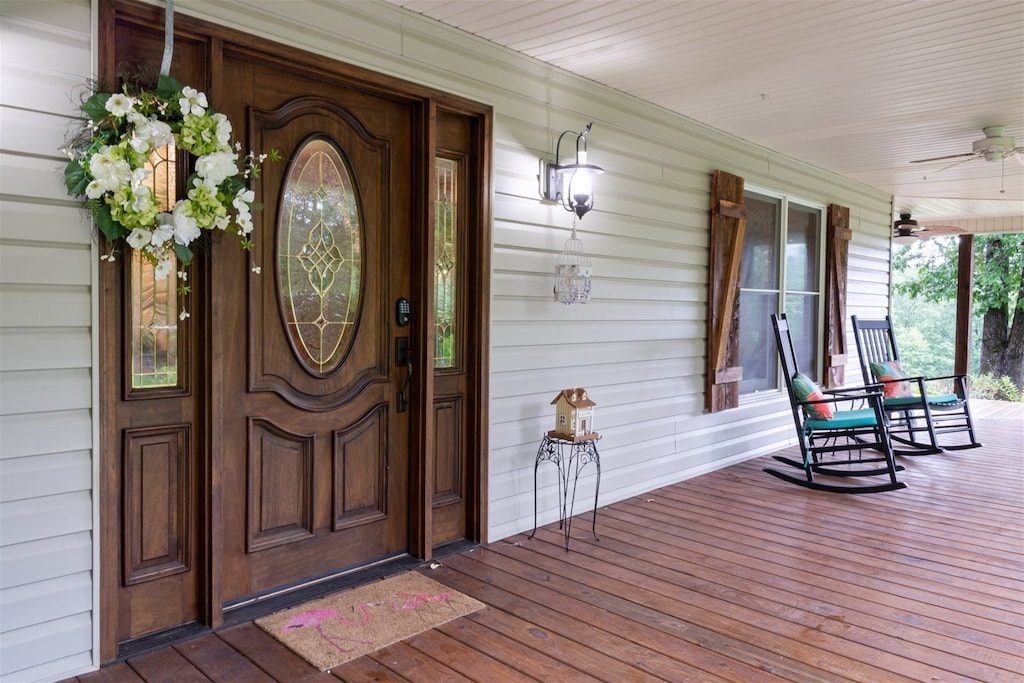 Front entry on generous large covered porch