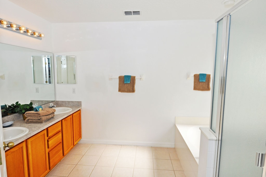 Master bathroom with walk-in shower upstairs.