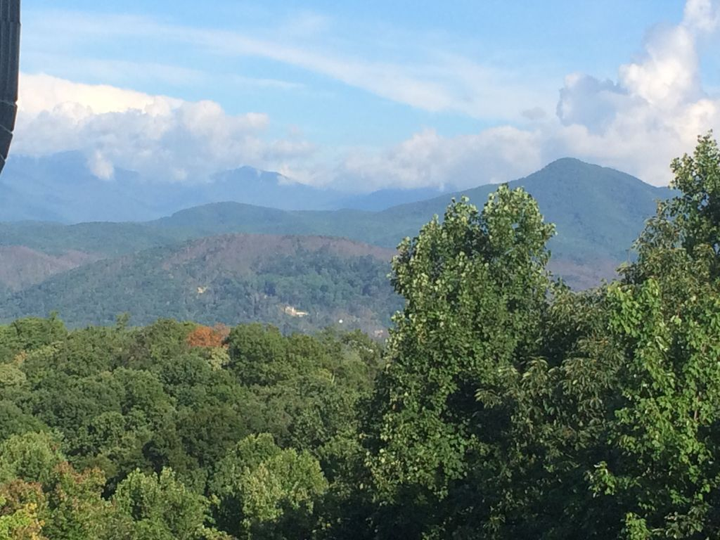 Sunny day view of the Smokies from the deck