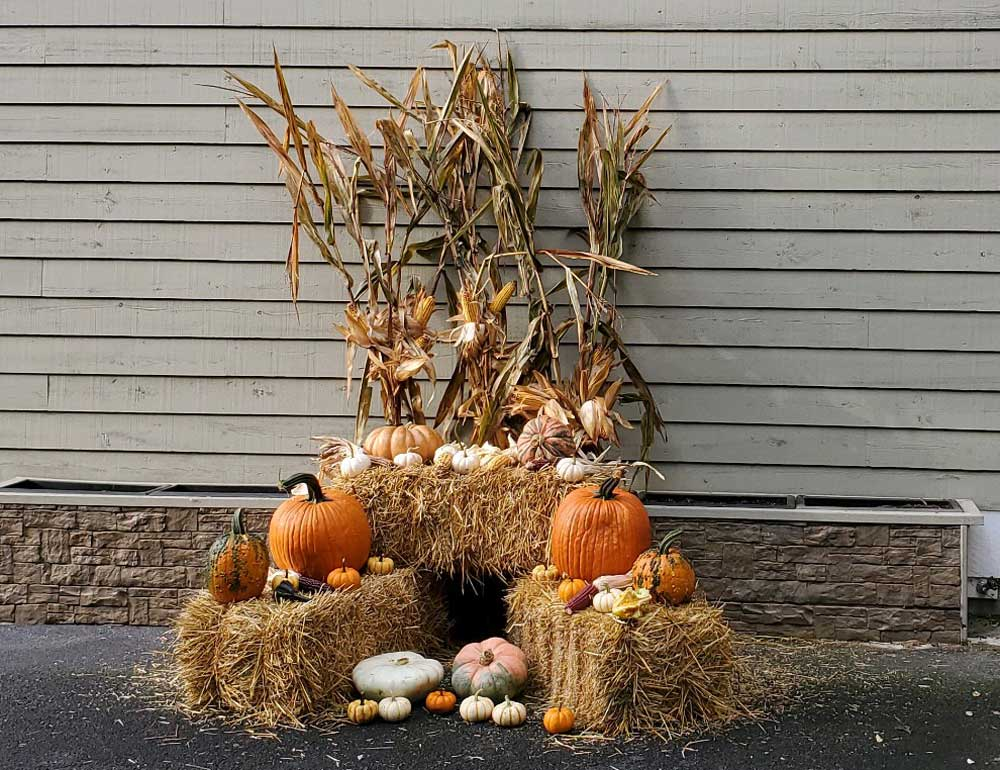 Seasonal decorations in the fall.