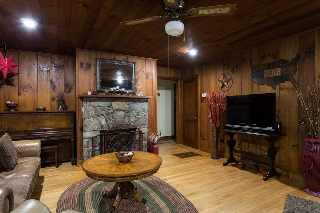 In the living room is a large-screen TV and it is a great place to gather.