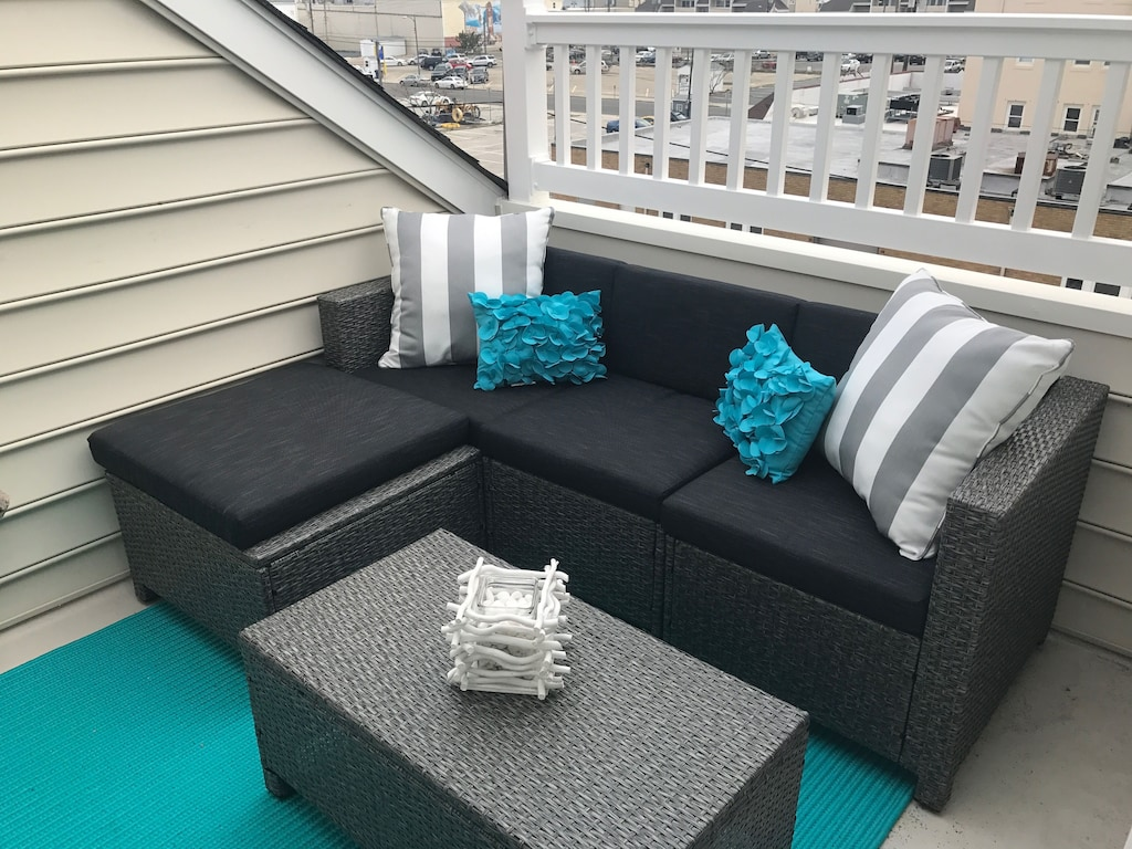 Private balcony on top level outside of King bedroom. Relax in your own lounge