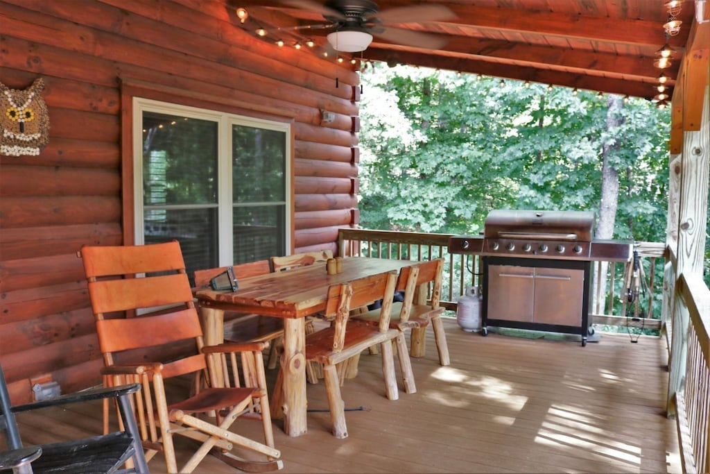 Back porch with large table and gas grill