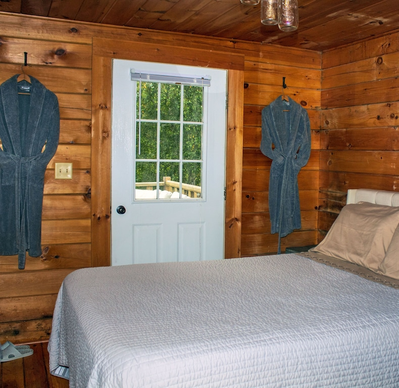 Master bedroom with robes and shower shoes