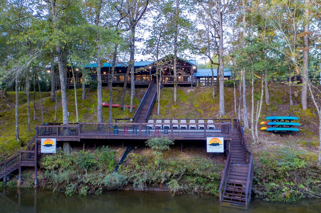 The largest deck on Mt Fork with two access points for swimming and kayaking.