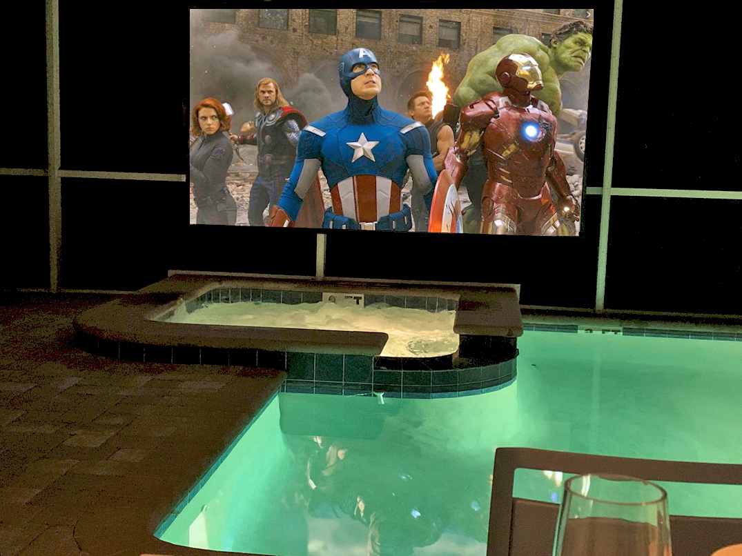 """Outdoor Movie Theater With 125"""" Screen, 4K Projector And Premium Sound System"""