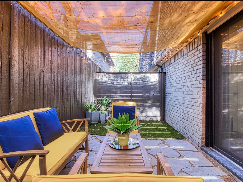 Private patio with comfortable seating