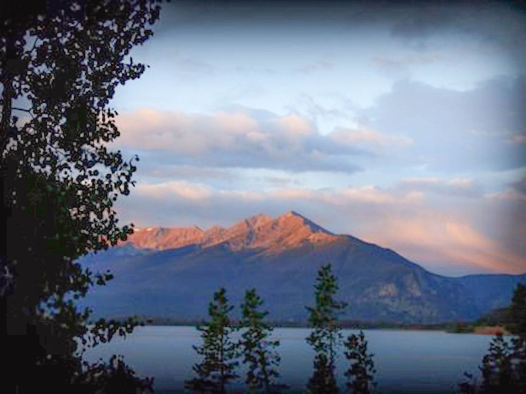 Sunrise over Lake Dillon as viewed from our deck