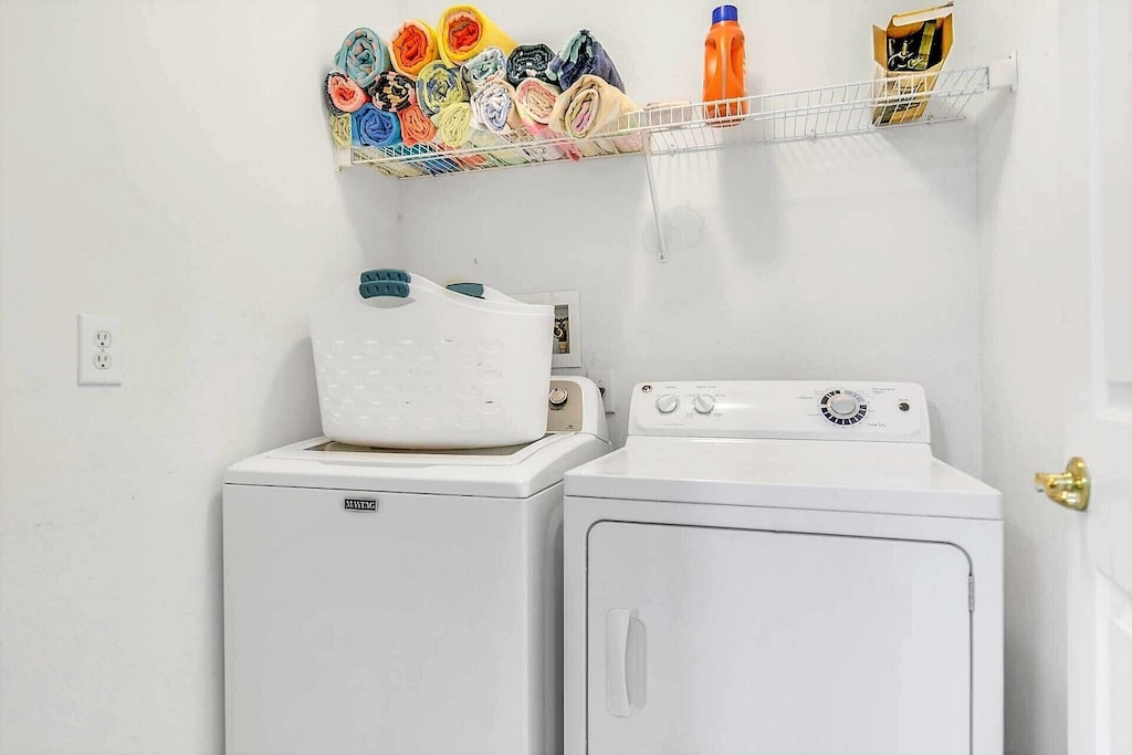 Washer and dryer for guest use.