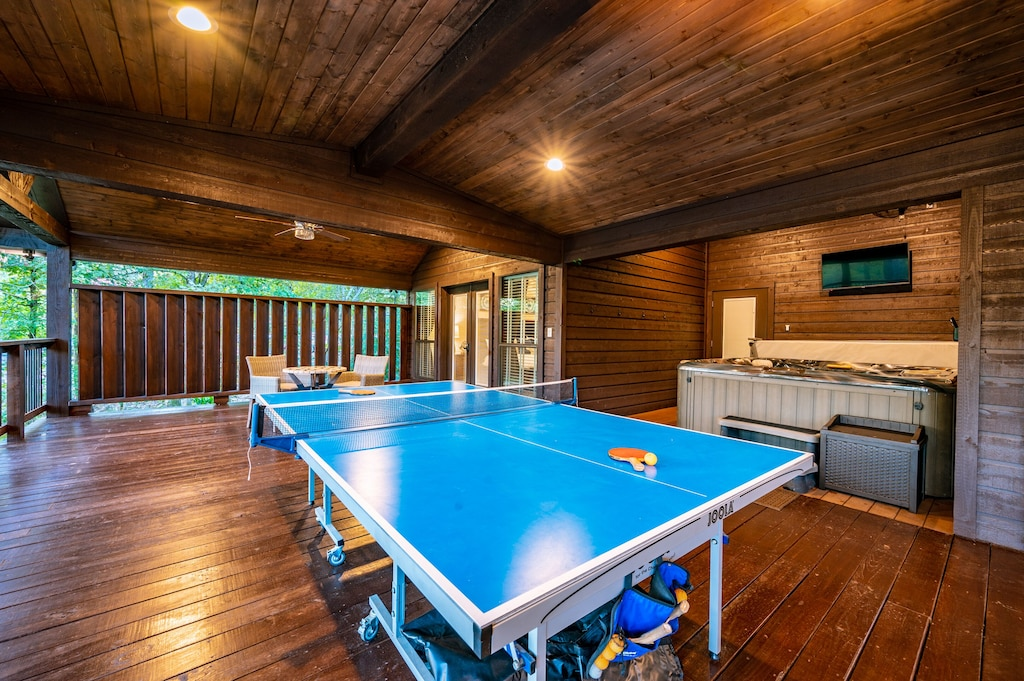 Play a game of ping pong or relax in the hot tub.