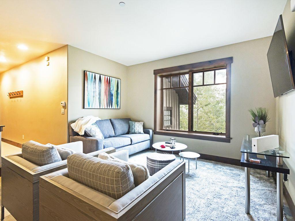 Living area with sleeper sofa, flatscreen TV